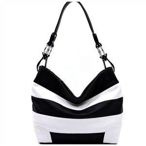 Handbags - Black & White Striped Classic Bucket Bag